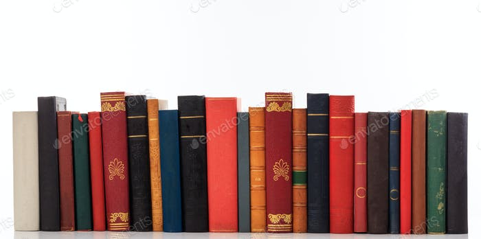 Vintage books on white background