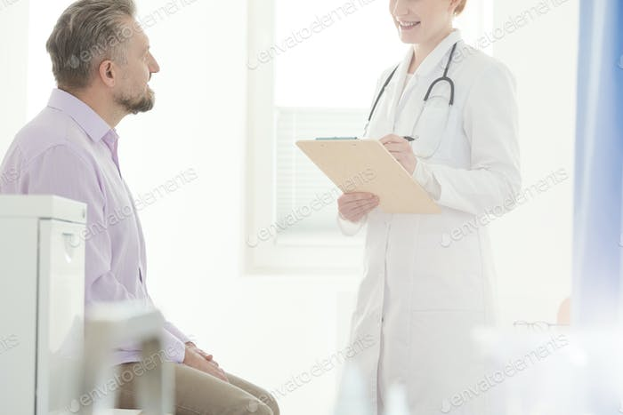 Professional doctor and sick man