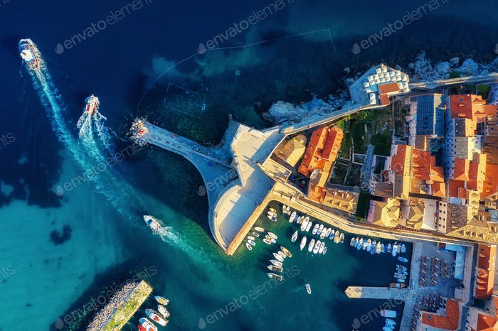 Dubrovnik, Croatia. Aerial view on the old town. Vacation and adventure. Town and sea.