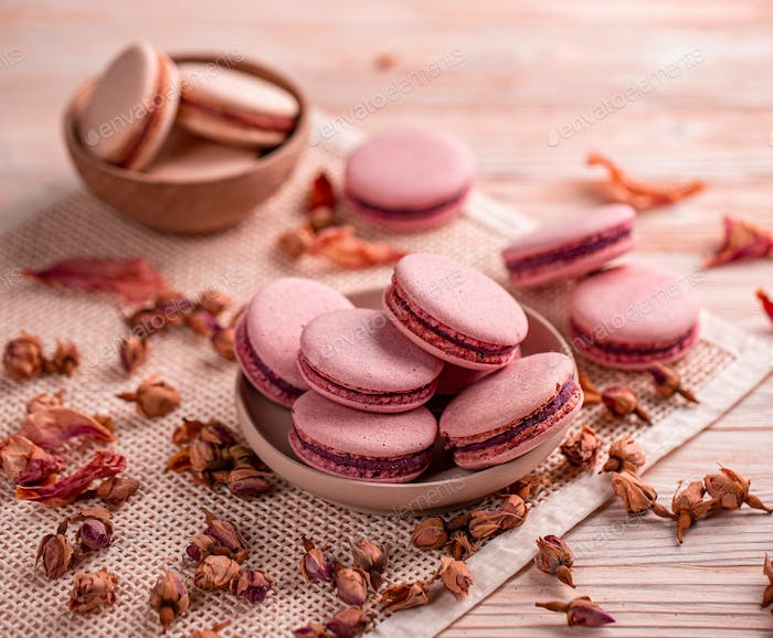 Still life composition of pink macaroons