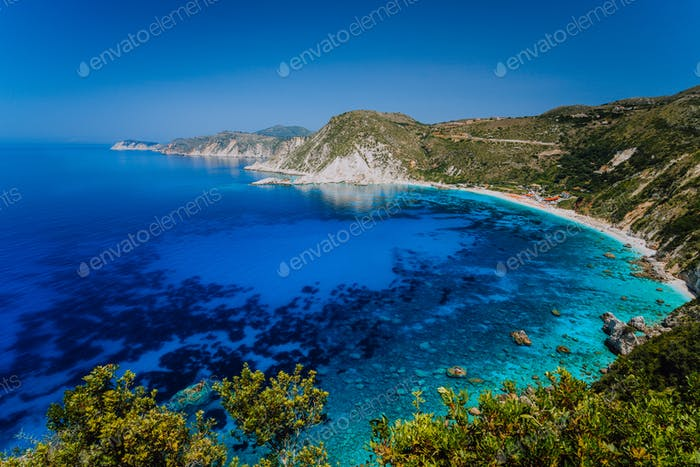 Amazing water colors of Petani beach, Kefalonia, Greece Ionian islands. Summer adventure vacation