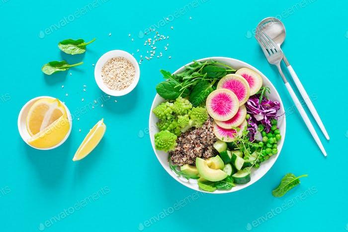 Vegan lunch bowl with quinoa and salad, vegan diet
