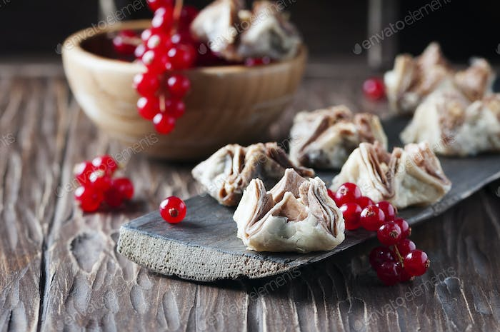 Egyptian baklava with red currant