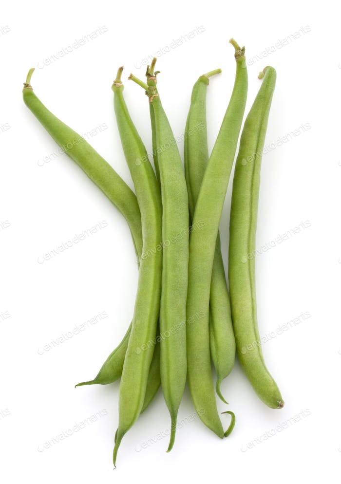 Green beans handful isolated on white background cutout
