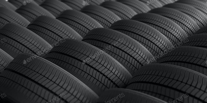 Car tires as background. 3d illustration