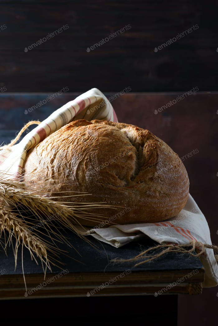 Homemade bread sourdough, rustic baked bread with wheat ears and napkin on a dark background, copy