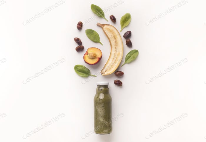 Eco green fresh drink detox cocktail with fruits on white