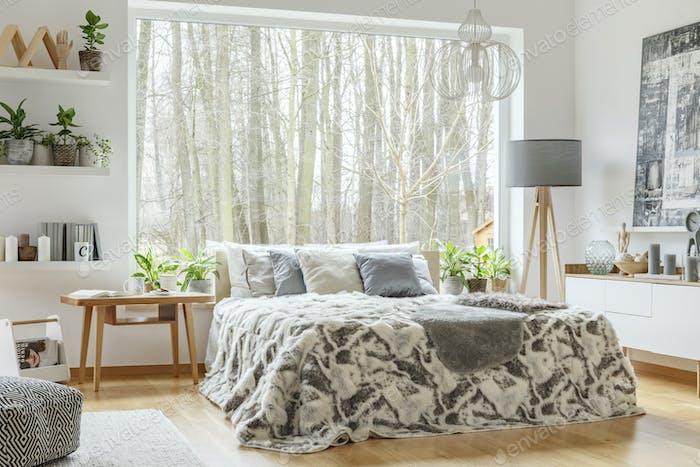 Spacious, cozy bedroom interior