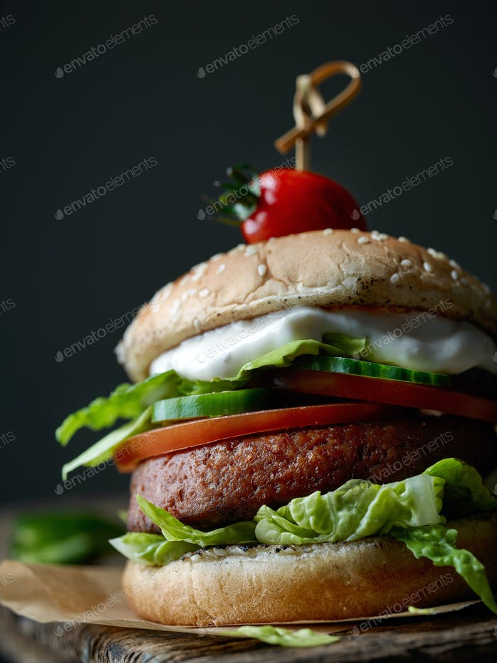 fresh tasty vegan burger