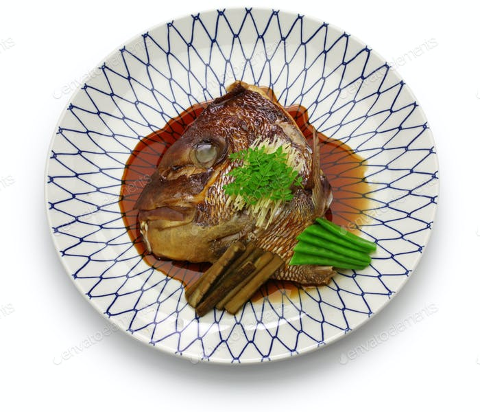 simmered sea bream head, japanese cuisine