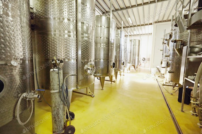 Stainless steel wine fermentation containers in a winery
