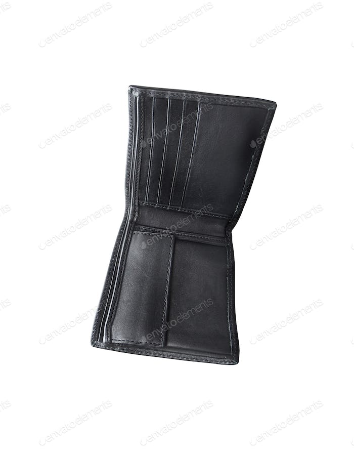 Open black wallet isolated on white background