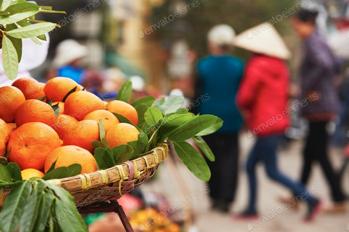 Oranges on the street market