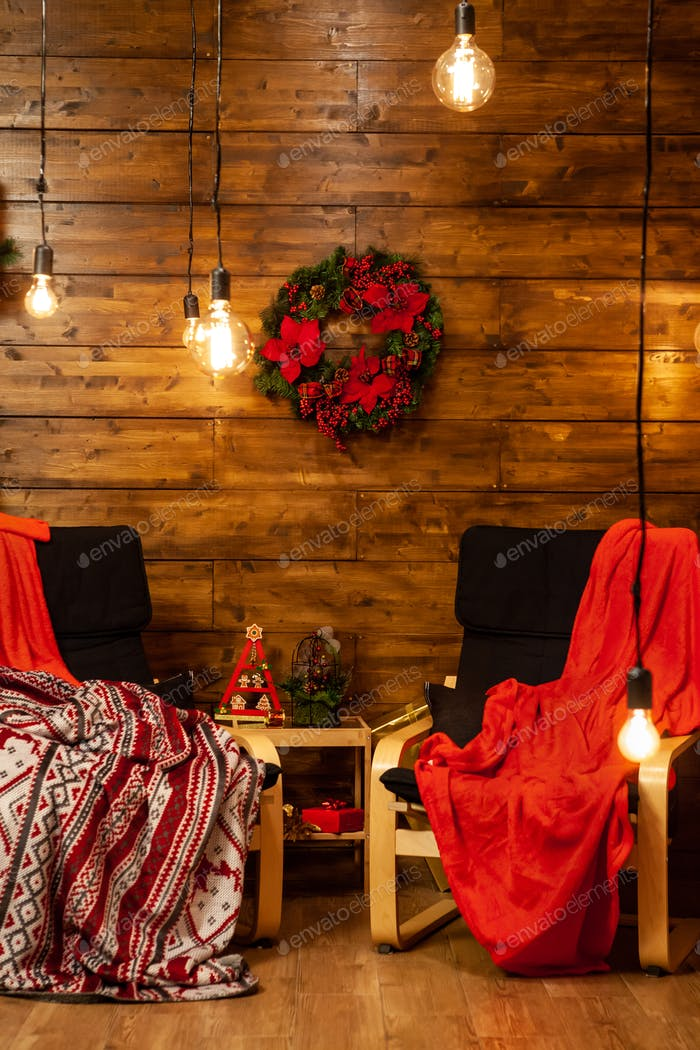Cozy Christmas chiars in beautiful home with beautiful Christmas lights