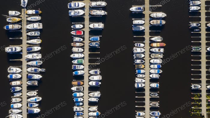 Aerial View by Drone of Yacht Club and Marina