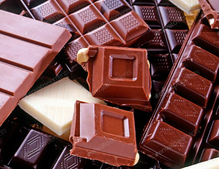 Variety of different slab chocolate