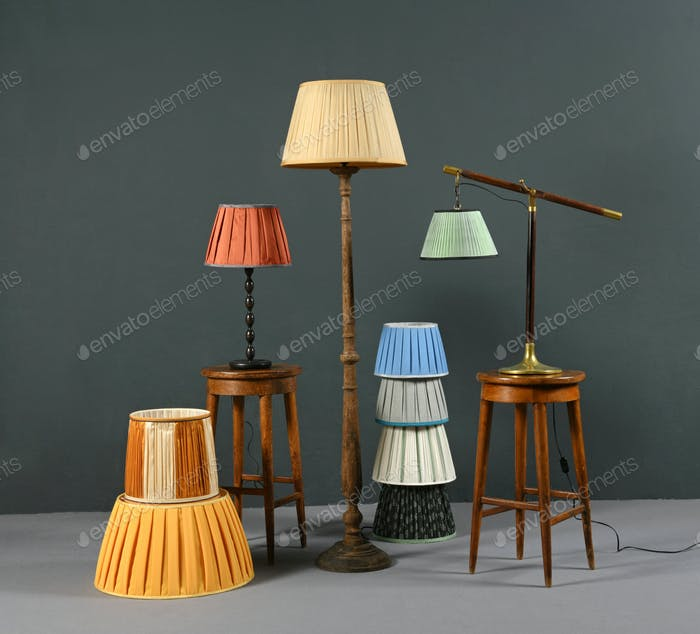 Collection of colorful pleated vintage lampshades