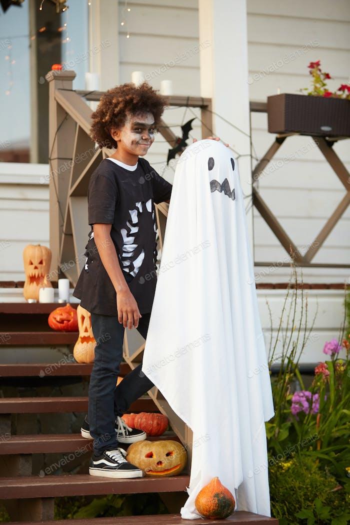 African Boy Posing on Halloween