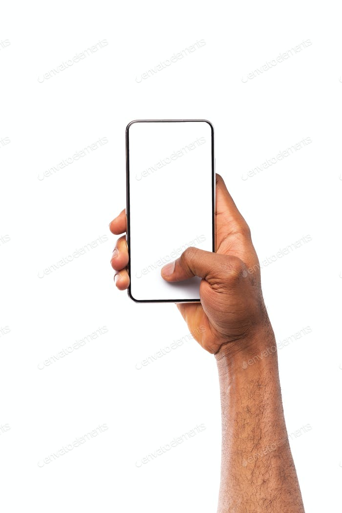 Mockup image of black hand holding smartphone with blank screen