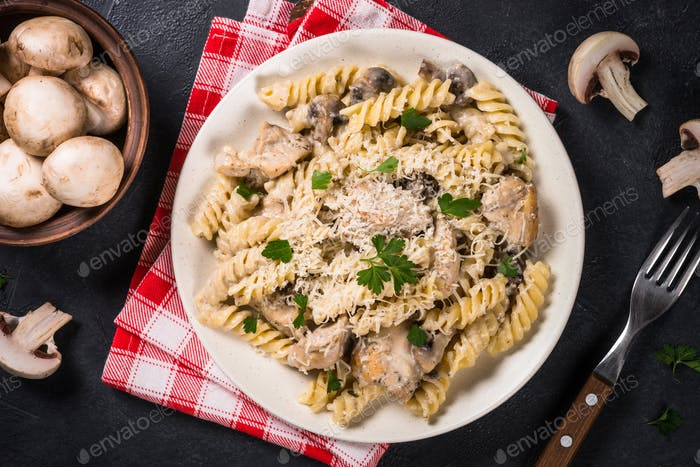 Pasta with Chicken and mushrooms In cream sauce