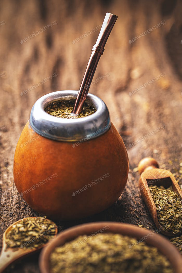 Mate tea in calabash