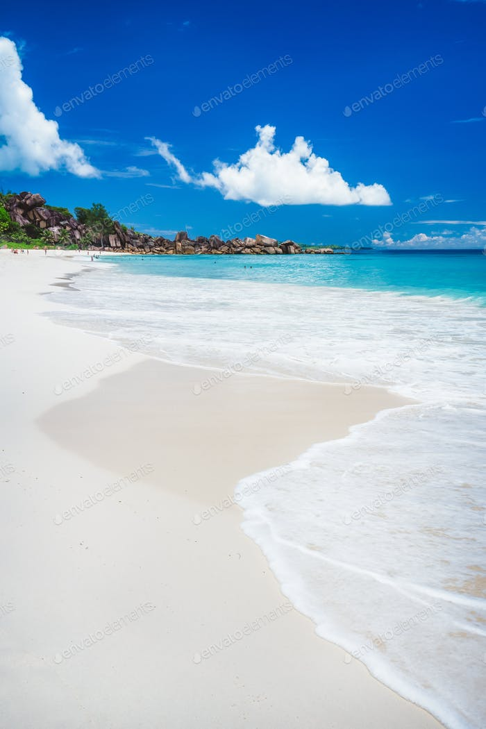 Grand Anse sandy beach at La Digue island, Seychelles. Holiday vacation travel destination concept