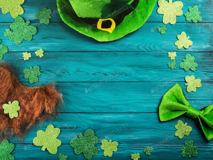 St Patrick Day dark green background with shamrocks