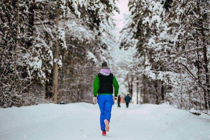 Girl Running in Winter Park