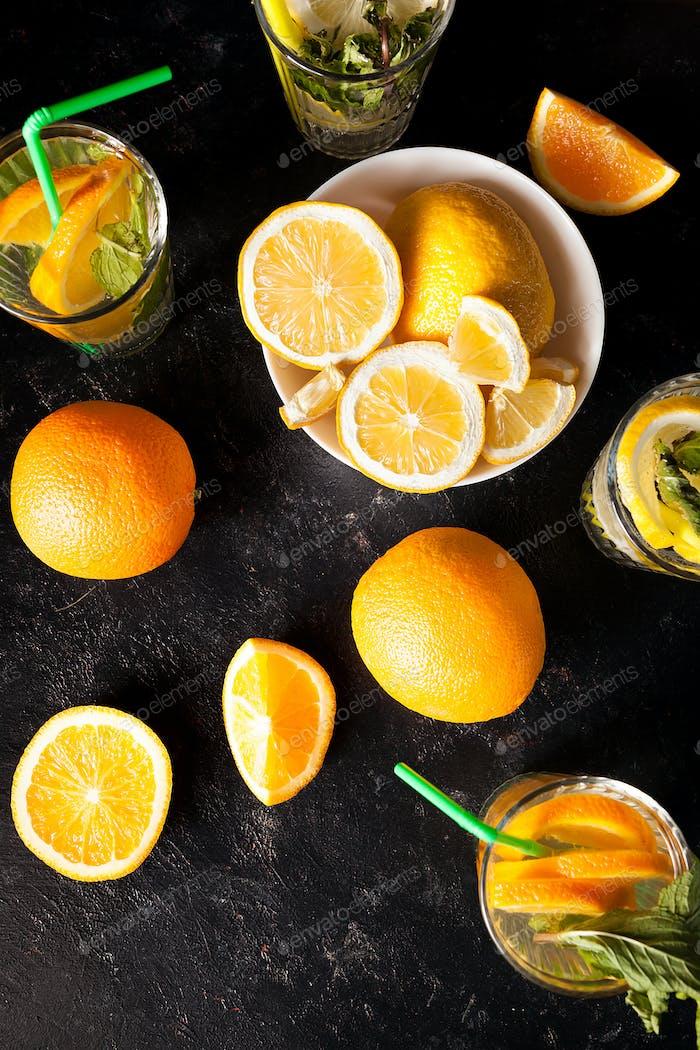 Top view of healthy and delicious lemonade and orangeade