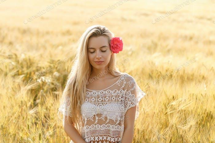 Woman on field nature summer portrait