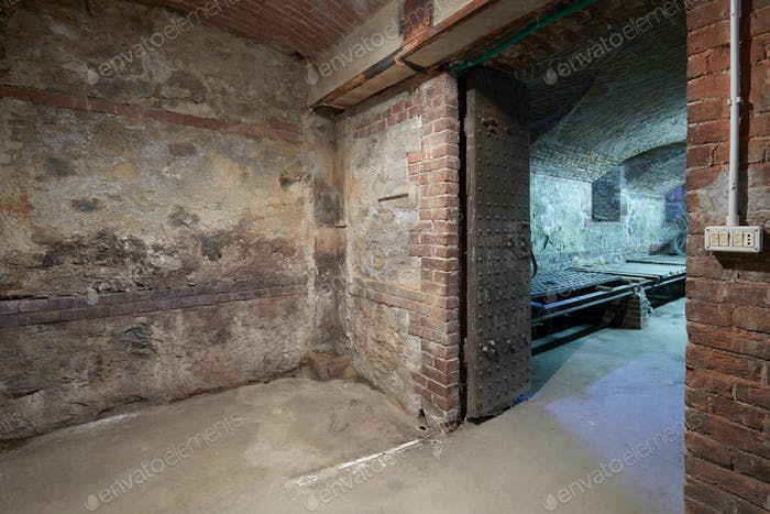 Old, empty basement with brick walls and wooden portal
