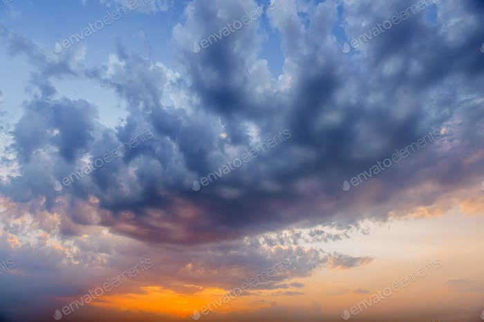 Romantic fantastic colorful clouds evening sky texture with diff