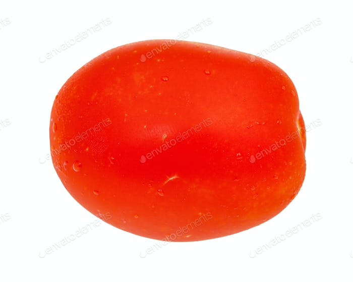 side view of ripe red plum tomato isolated