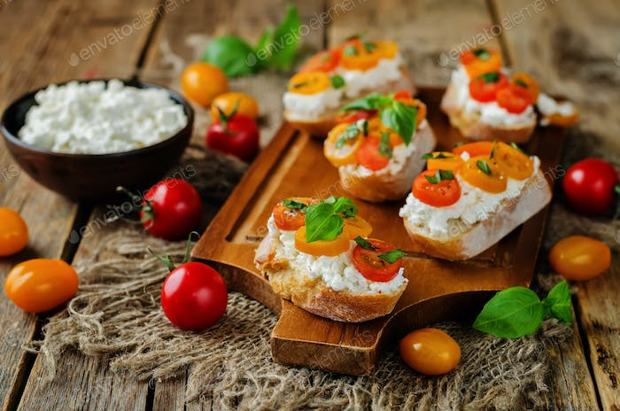 Thumbnail for Ricotta tomato Basil bruschetta with fresh tomatoes and Basil le