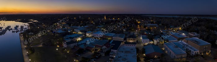 Aerial panorama of small town of Beaufort, South Carolina after