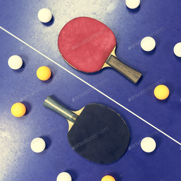 Table Tennis Ping-Pong Sport Equipment Concept