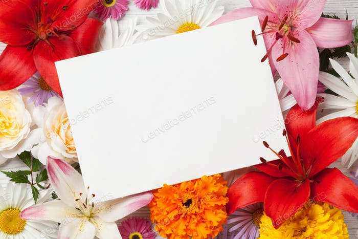 Colorful flowers and greeting card