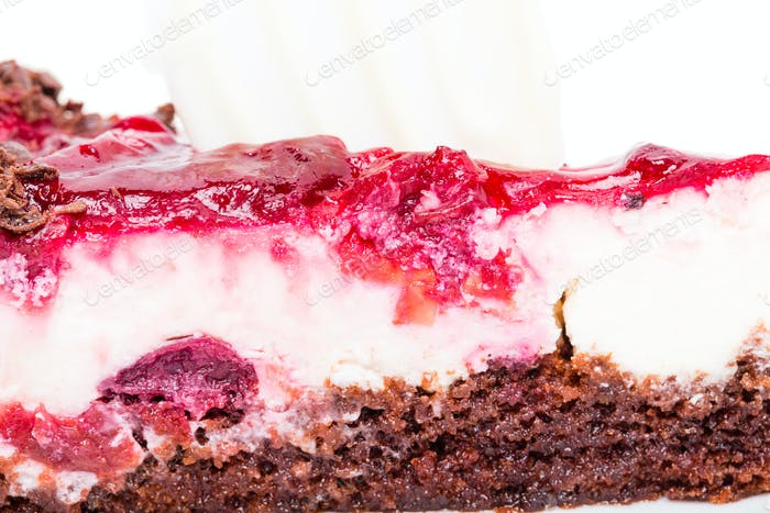 Delicious cheese cake with cherry jam.