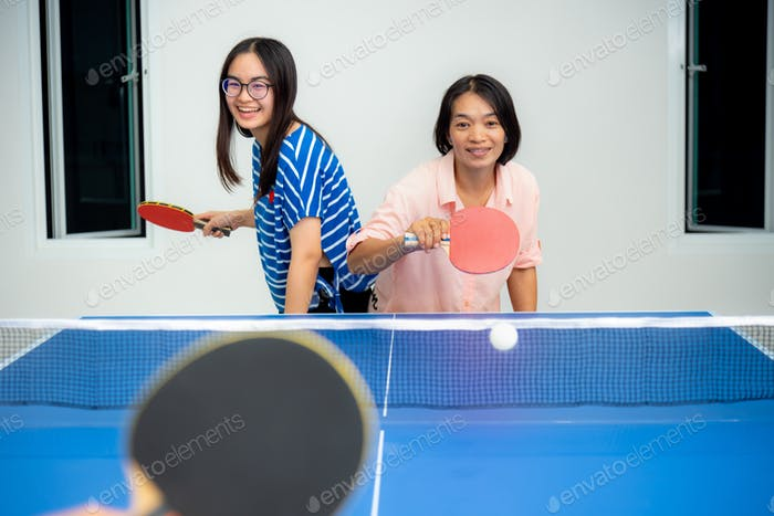 Mother and daughter enjoy recreation stay at home
