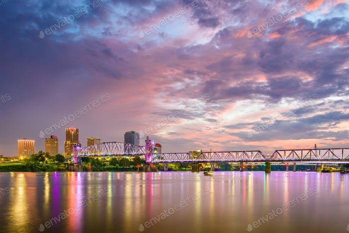Little Rock, Arkansas, USA Skyline auf dem Arkansas River