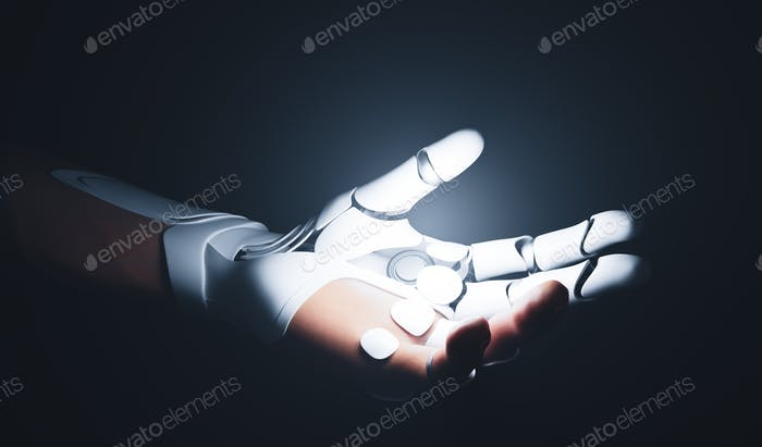 Robotic bionic hand connected with human hand.