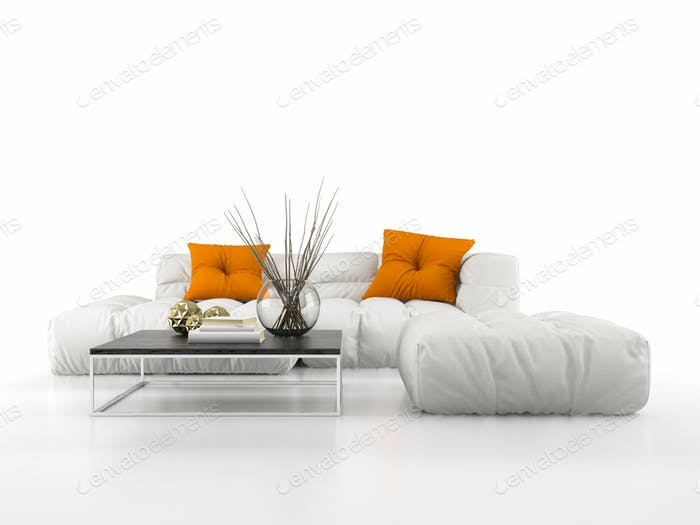 Modern sofa isolated on white background 3D rendering