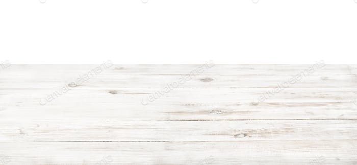 Empty rustic white wood table top