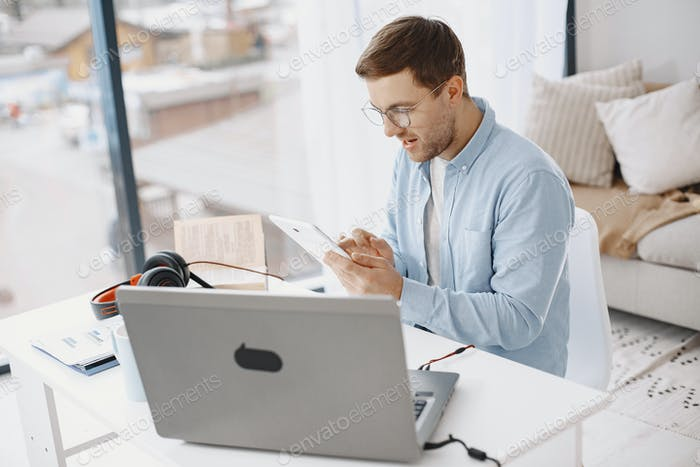 Male has lesson online e-learning in internet concept