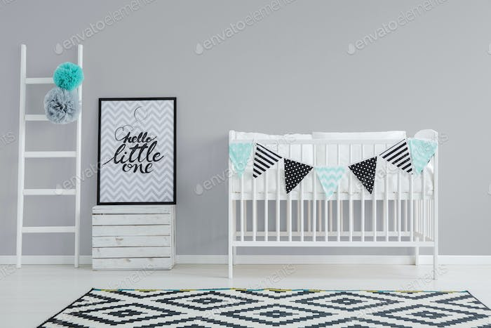 Grey wall in baby room