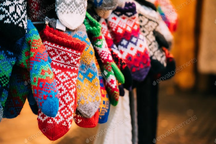 Knitted Traditional European Warm Clothes - Mittens At Winter Ch