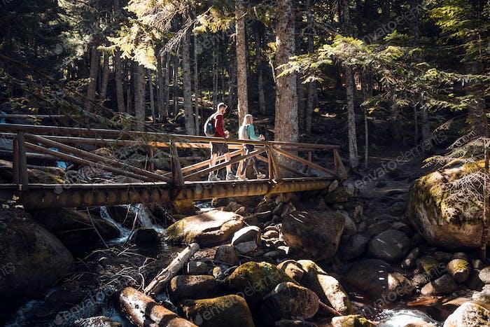 Zwei Reisewanderer mit Rucksack, die die Landschaft im Wald betrachten.