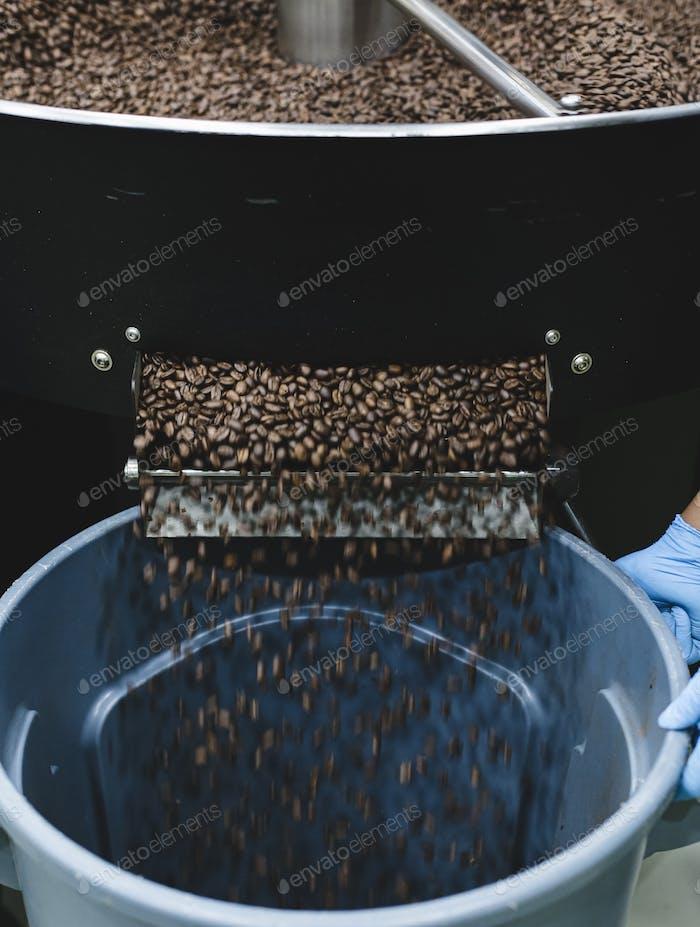 Frisch geröstete aromatische Kaffeebohnen in einer modernen Kaffeeröstermaschine