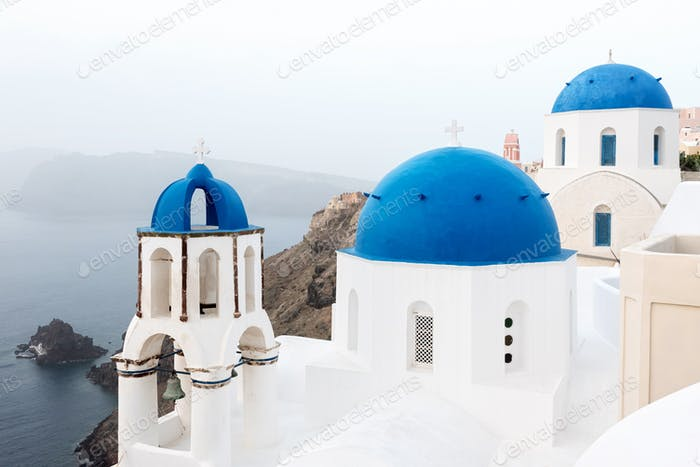 Orthodox church with blue dome on Santorini island, Greece
