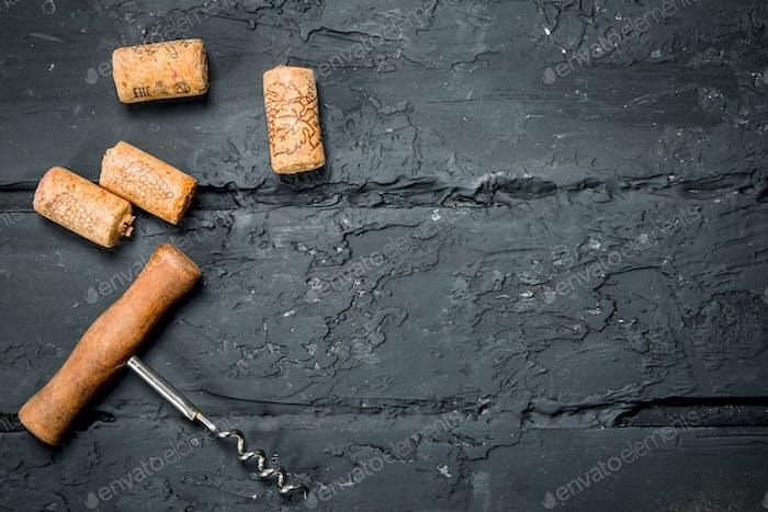 Corkscrew with corks.